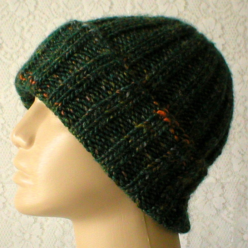 b799e22d189ab Green tweed watch cap brimmed beanie hat slouchy hat mens womens knit hat  green ... Green tweed watch cap brimmed beanie hat slouchy hat mens womens  knit ...