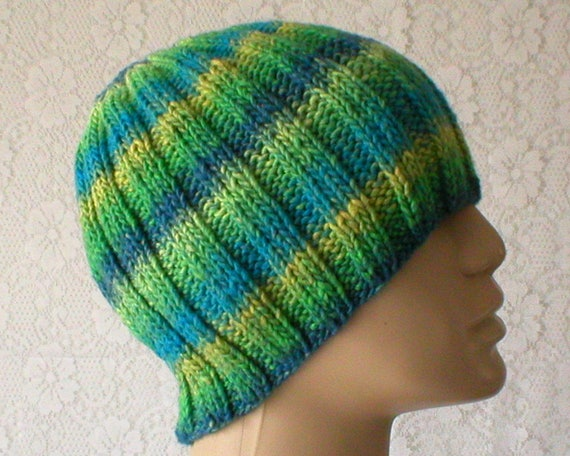 Blue green yellow beanie hat striped hat mens womens knit hat  2ff2286c054
