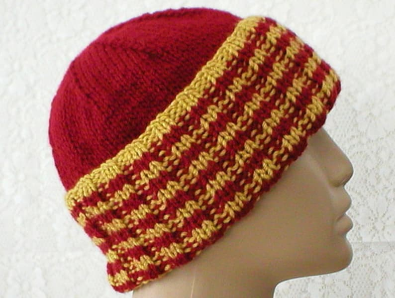 3a7a45564 Watch cap crimson red mustard gold striped hat brimmed beanie hat mens  womens red gold hat red gold chemo cap red gold beanie hat hiking hat