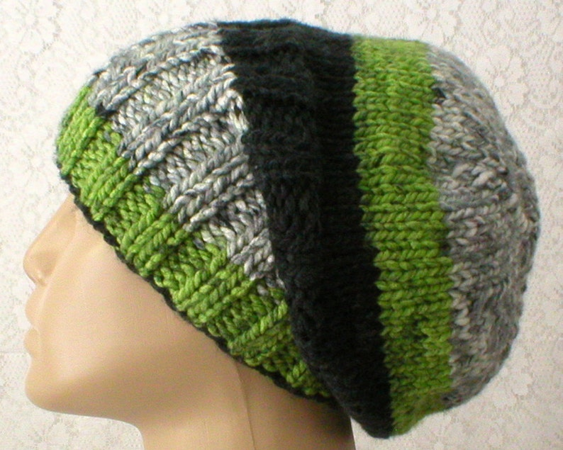 40e50b2686497 Green black white gray striped slouchy hat watch cap brimmed