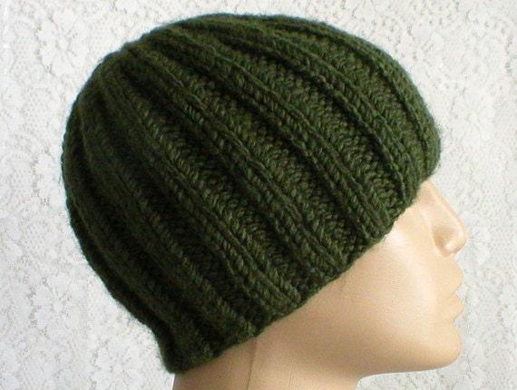Khaki army green ribbed beanie hat mens womens green knit hat  ae749214dd7