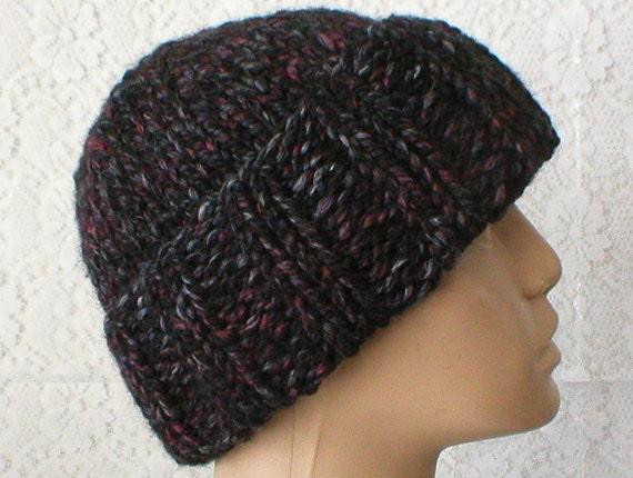 11a1fd3b107 Charcoal gray black wine watch cap brimmed beanie hat mens