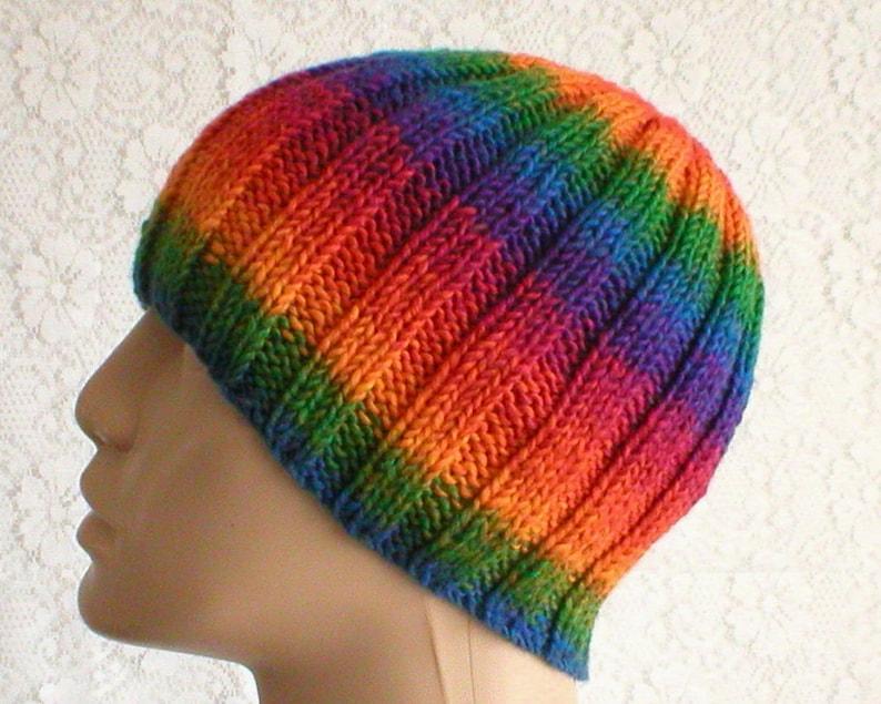 2d8e97db57fd4 Rainbow striped beanie hat blue green orange red purple hat