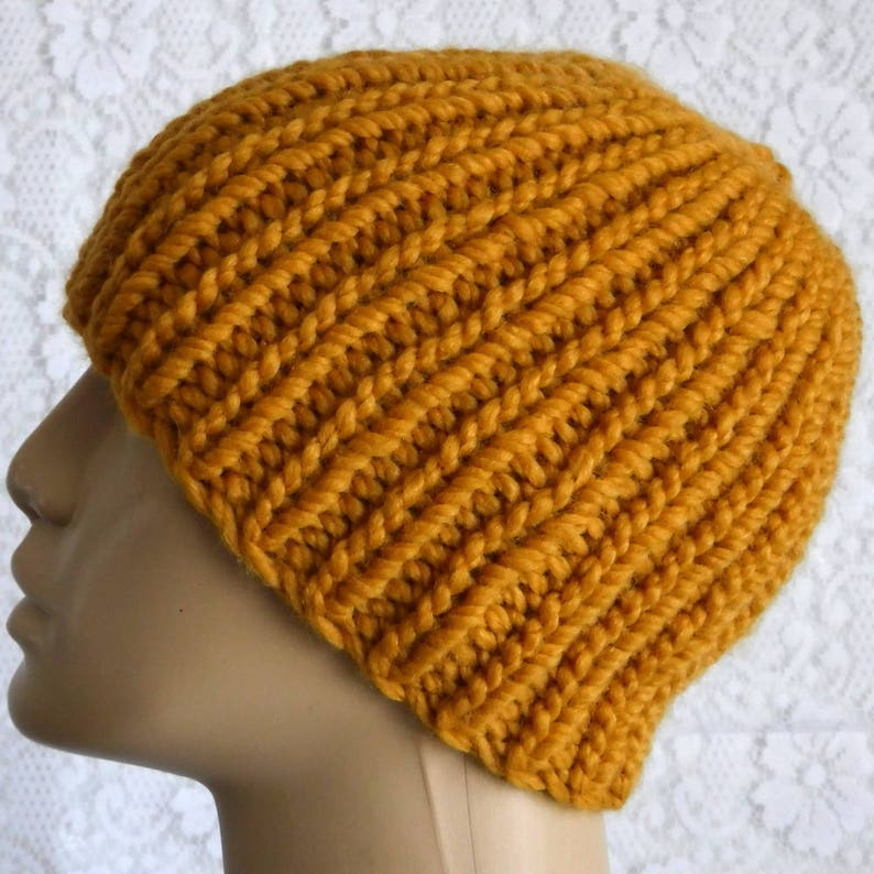 b5ce58720f1 Mustard yellow gold beanie hat mens womens knit hat ribbed