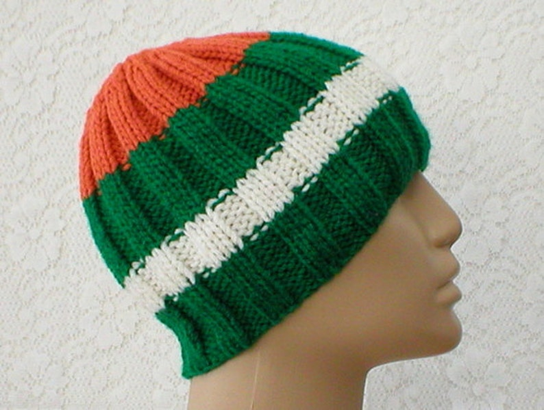 f22dbfc7cb3 Irish flag beanie hat green white orange striped hat mens