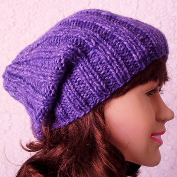 b1f575e2075 Purple slouchy hat watch cap brimmed beanie hat mens womens