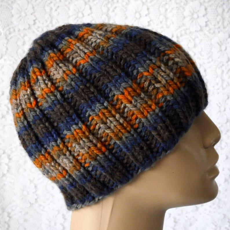 c8a92b8e2f8 Navy blue gray taupe orange rust brown striped beanie hat mens