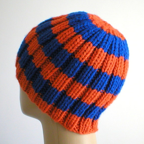 c0ff2ab74af Orange royal blue striped beanie hat mens womens winter hat