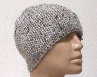 Gray marble tweed beanie hat, skull cap, winter hat, gray hat, womens mens knit hat, toque, gray beanie, ski skateboard, gray knit hat - V4
