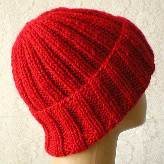 Red watch cap brimmed beanie hat mens womens red knit hat mens  35075e9410