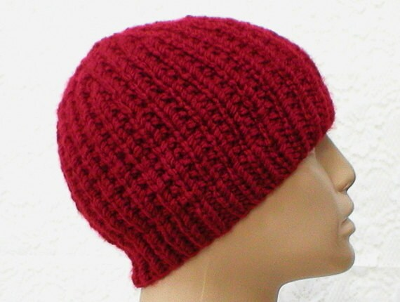 1ac948718c9 Crimson red beanie hat mens womens red hat ribbed hat red