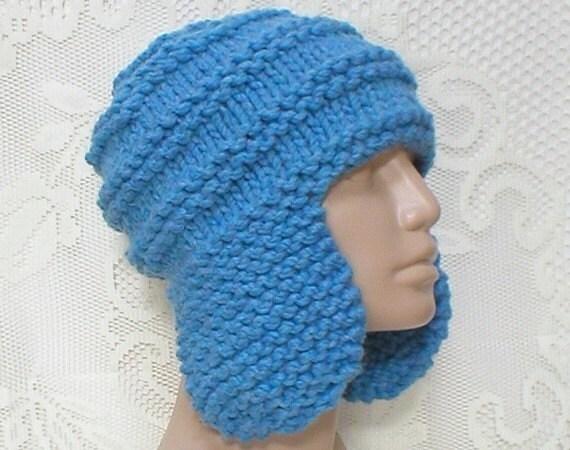 Blue Ear Flap Hat Trapper Cap Mens Womens Winter Hat Blue