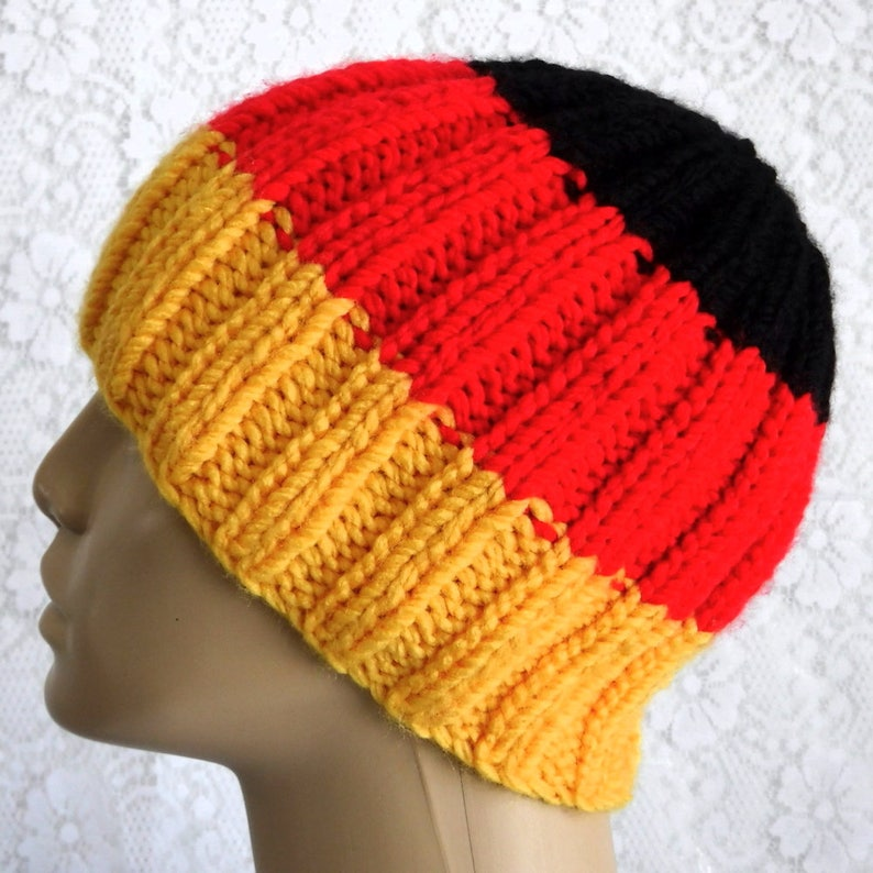 e8fefc62 Gold red black striped beanie hat ribbed beanie hat mens womens beanie hat  German flag hat mens womens winter hat knit hat color block hat