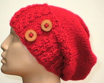 Scarlet red cable knit slouchy hat, red hat, cable hat, knit hat, toque, button band hat, womens hat, cable knit hat, winter hat, chemo cap