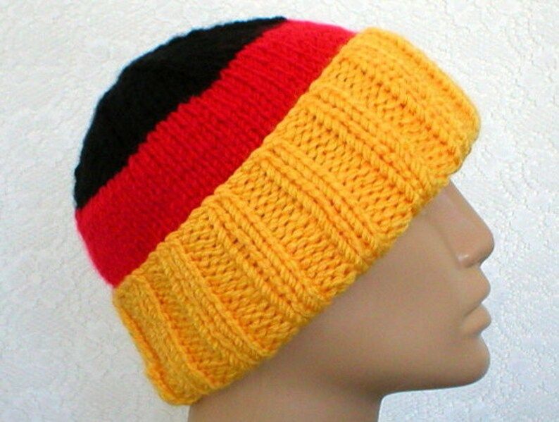 37bf2333 German flag hat watch cap brimmed beanie hat slouchy hat gold red black hat  striped hat mens womens winter hat color block hat chemo cap V7
