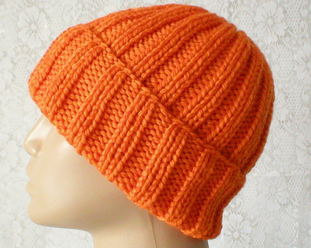 7a054d41 Bright orange watch cap brimmed beanie hat slouchy hat mens | Etsy