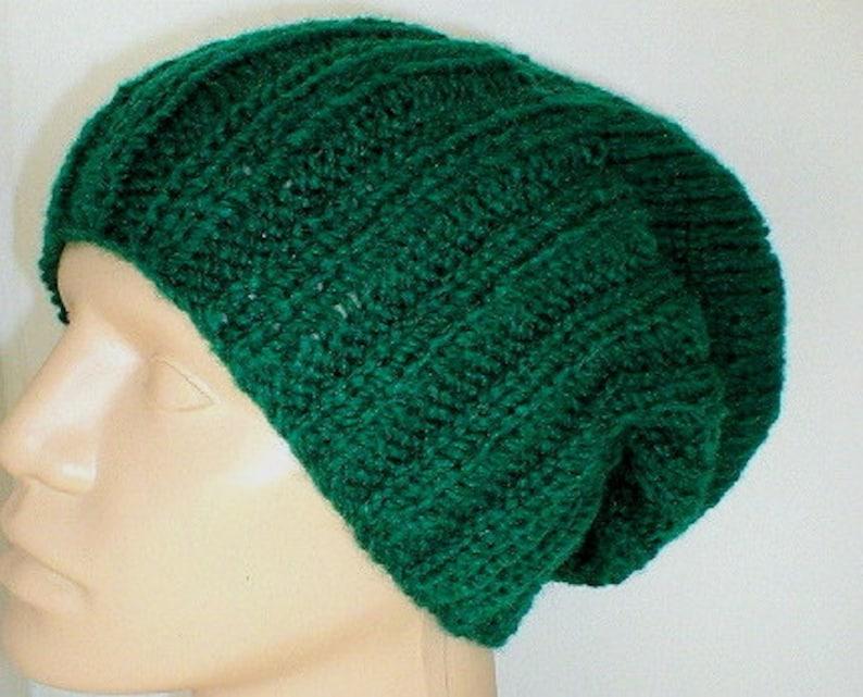 Dark green watch cap slouchy hat brimmed beanie mens womens  f2090efb3b8