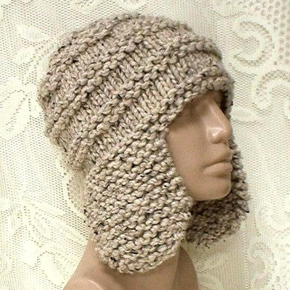 4e7d88aab Oatmeal tweed earflap hat trapper cap mens womens winter hat oatmeal beanie  hat toque mens womens knit hat chunky knit hat ski toboggan hat