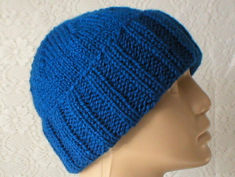 79f9fb0262f Royal blue watch cap brimmed beanie hat slouchy hat blue hat