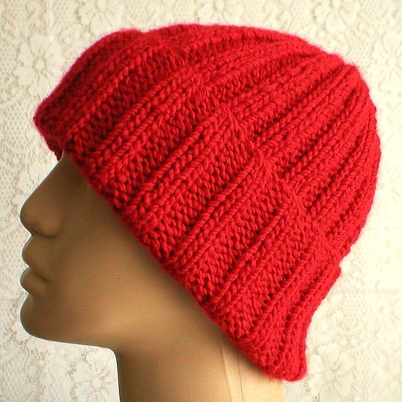 Red watch cap brimmed beanie hat mens womens red knit hat mens  a55bf560ed6