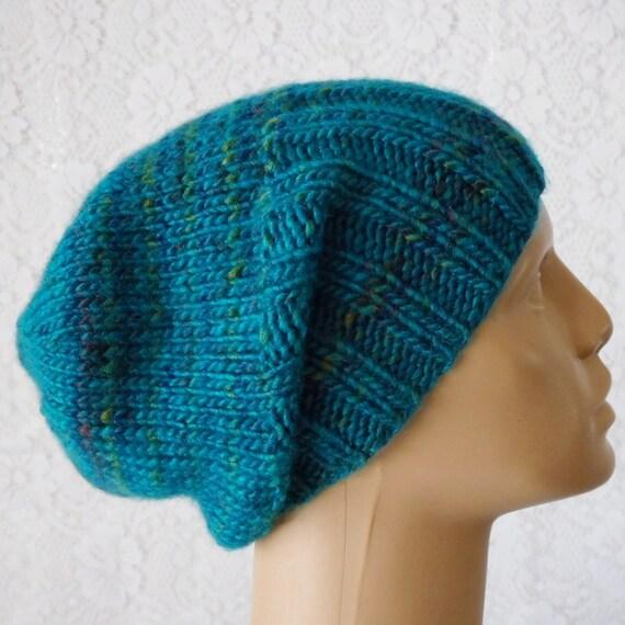 9392a958311 Blue tweed slouchy hat watch cap brimmed beanie hat mens