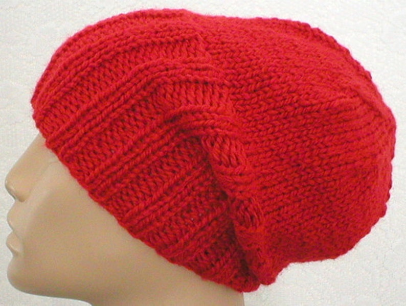 Red watch cap slouchy hat brimmed beanie hat mens womens red  610d458a9b