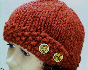 Rust copper beanie hat with tortoise shell buttons, winter hat, knit hat, womens hat, chemo cap, toque, beanie hat, hiking hat, brown hat