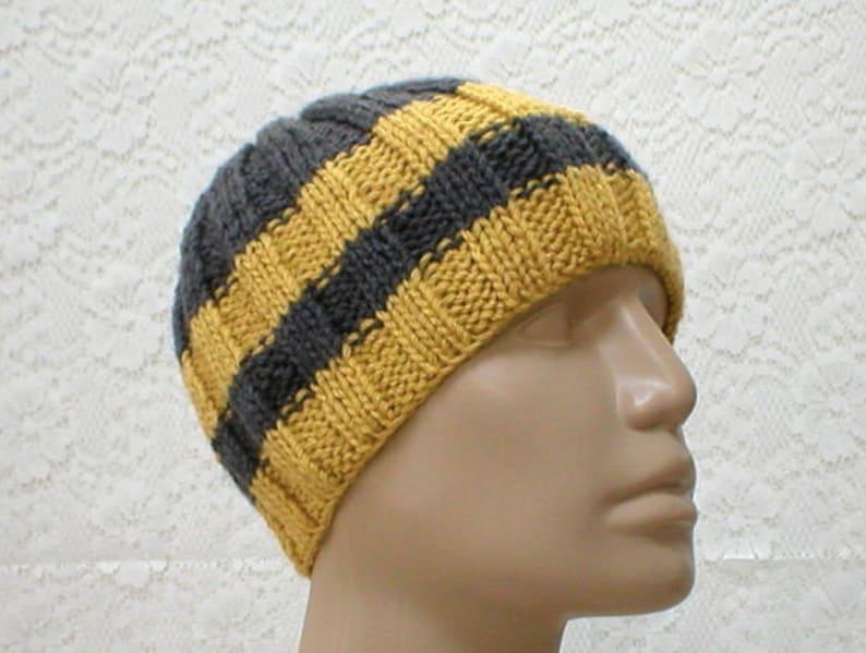 10f0b311f42 Charcoal gray mustard yellow gold beanie hat mens womens