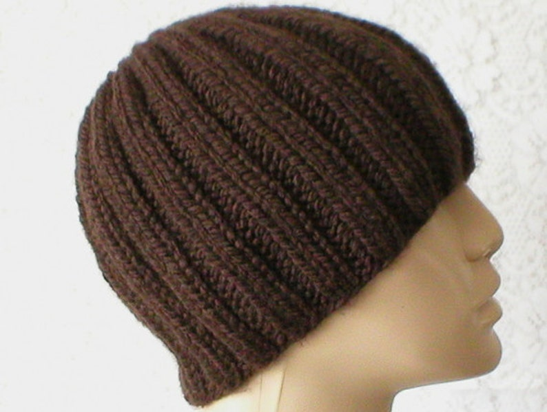 Dark brown beanie hat brown toque mens womens brown beanie  ebc7eaf7417