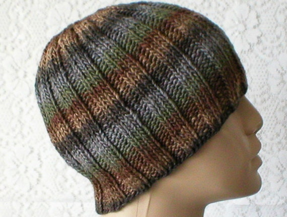 Gray taupe brown green striped beanie hat mens womens beanie  1f7ebe4c2e9
