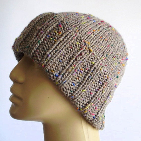 Tan sand brown tweed slouchy hat watch cap brimmed beanie hat  86d81dfc4cf