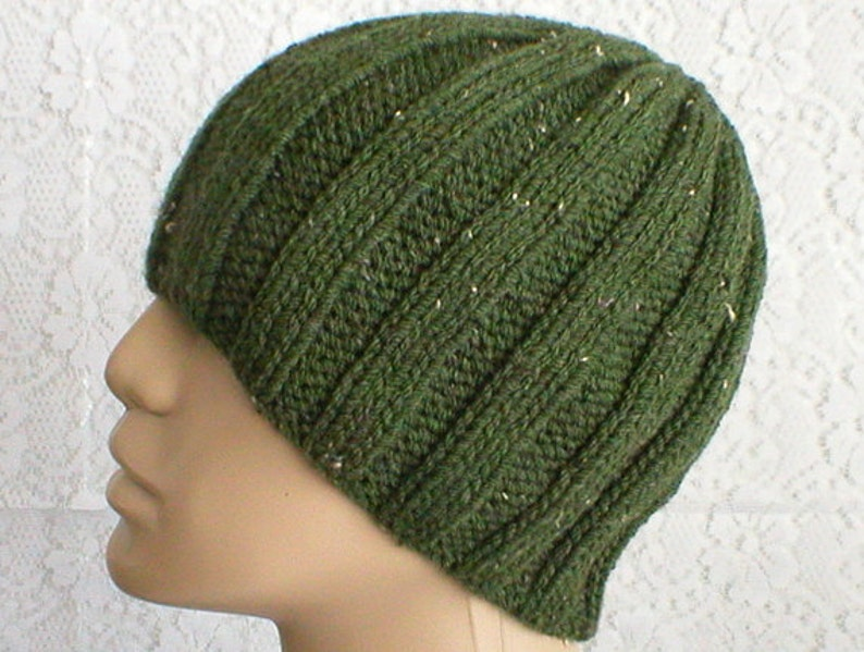 Olive army green tweed beanie hat mens womens knit hat green  f40579469ad