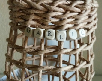 """Garlic Baskets with letter beads - says """"GARLIC"""""""