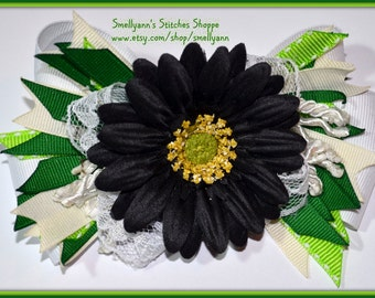 Springtime LARGE Stacked Bow in Emerald and Lime Greens, Ivory and Lace White, With Black Flower Center Accent Piece