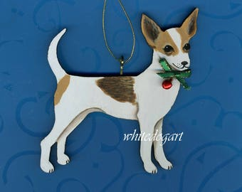 Custom Handpainted Fawn Chihuahua Christmas Ornament