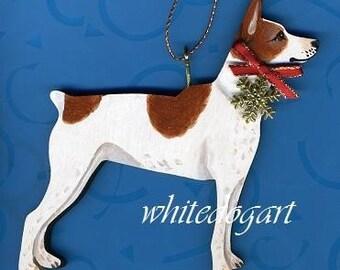 Red Rat Terrier Handpainted Christmas Ornament