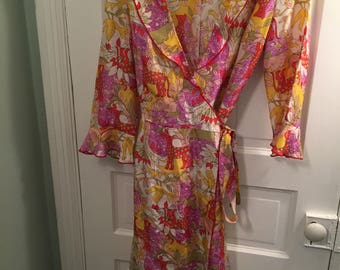 Vintage Nanette Lepore  Folk Art Animal Kingdom Silk Wrap Dress