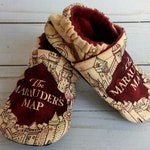 Harry Potter Marauder's Map: Handmade Soft Sole Shoes Cotton Knit Fabric Non-Slip Booties Baby Toddler Child Adult