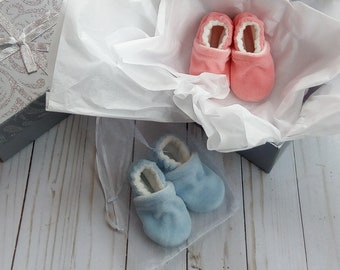 Gender Reveal Party Baby Shoes Box Handmade Cotton Velour Booties Free Shipping
