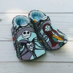 Nightmare Before Christmas Jack Skellington and Sally: Handmade Soft Sole Shoes Cotton Knit Fabric Non-Slip Booties Baby Toddler Child Adult