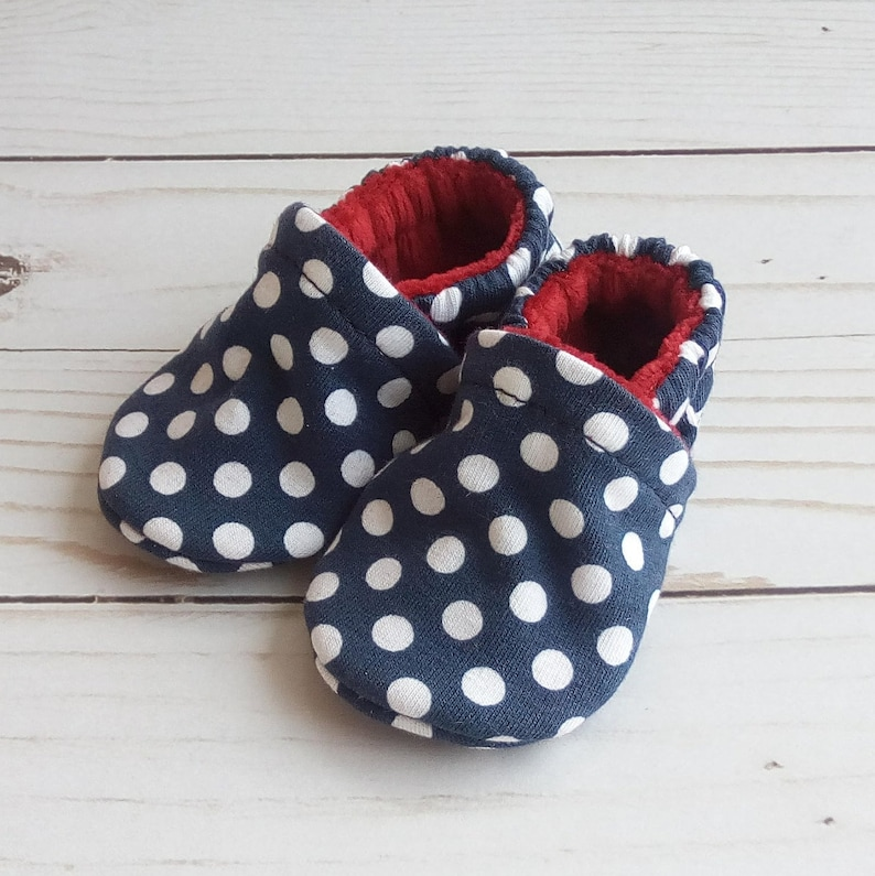Navy Dots: Handmade Baby Shoes Soft Sole Cotton Knit Fabric image 0