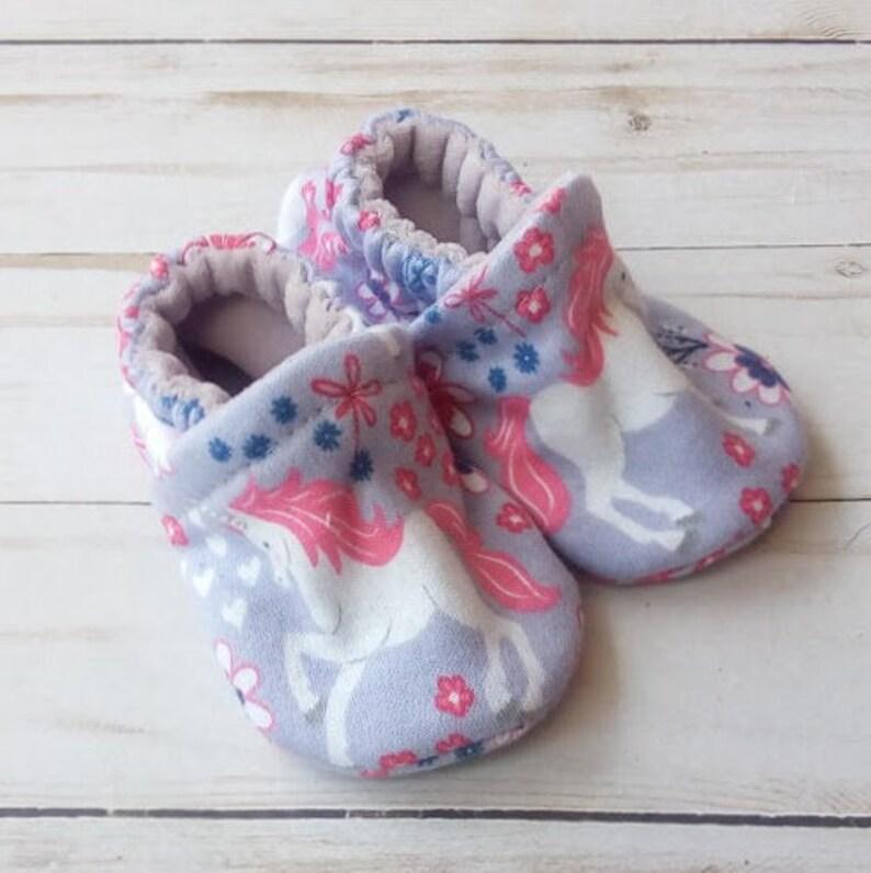 Purple Unicorn: Handmade Baby Shoes Soft Sole Cotton Knit image 0