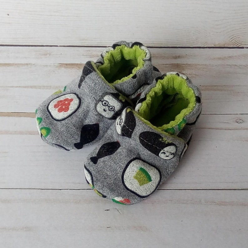 Sushi Handmade Baby Shoes Soft Sole Cotton Knit Fabric image 0