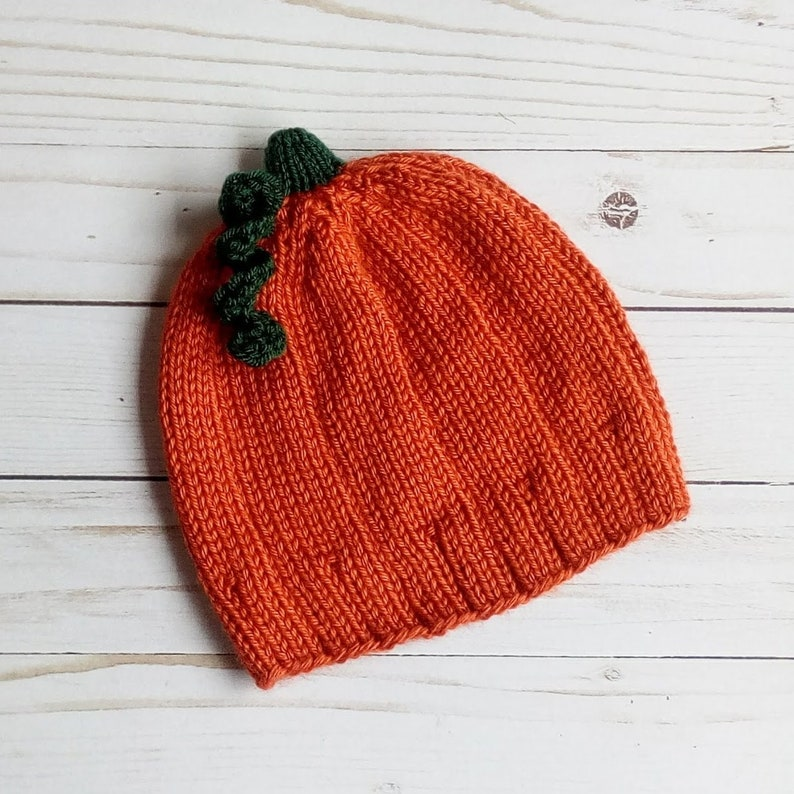 Pumpkin Hat Hand Knitted Fall Autumn Baby Toddler Beanie Free image 0