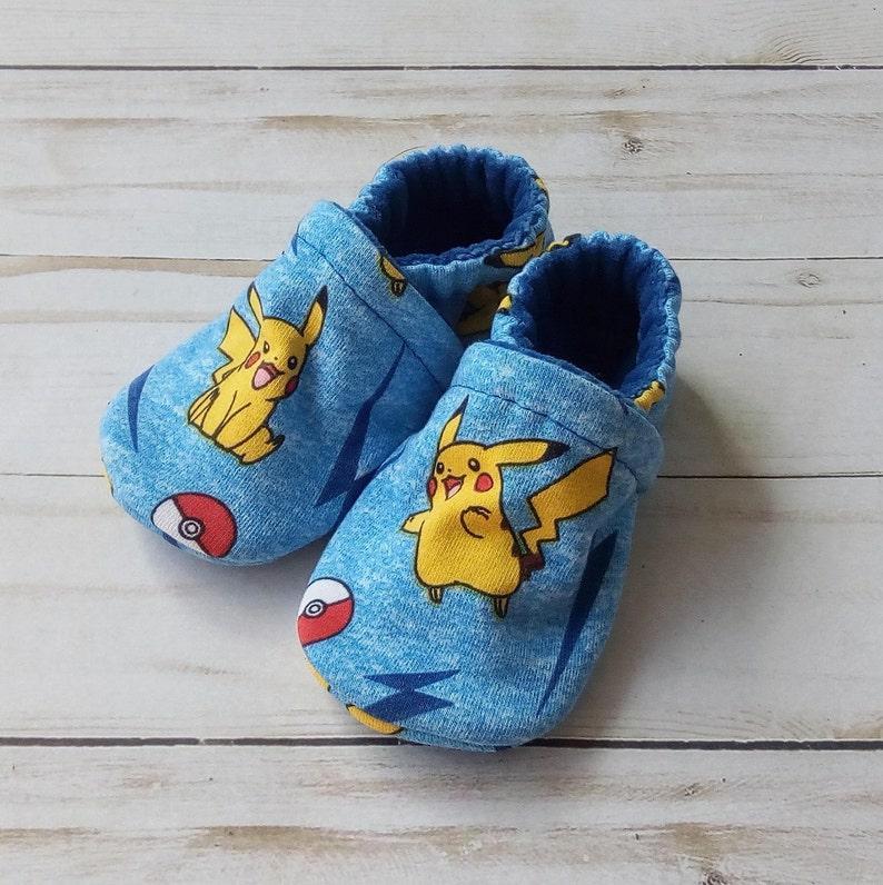 Pikachu Pokemon: Handmade Soft Sole Shoes Cotton Knit Fabric image 0