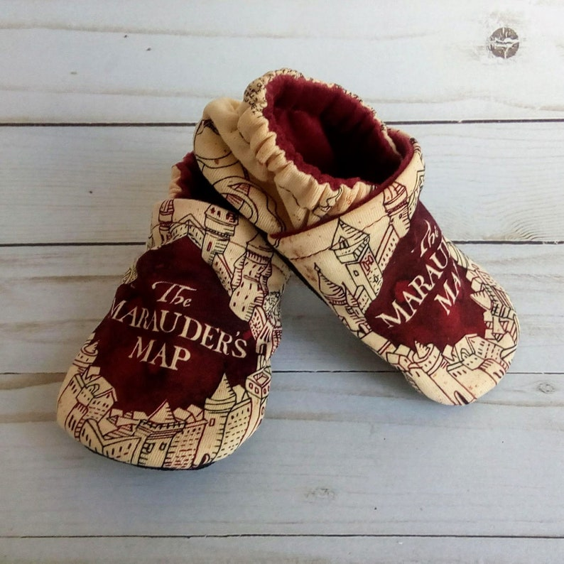 Harry Potter Marauder's Map: Handmade Soft Sole Shoes image 0