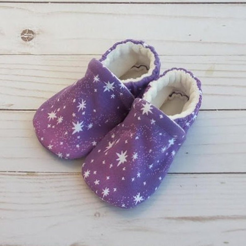 Pink and Purple Stars: Handmade Soft Sole Shoes Cotton Knit image 0