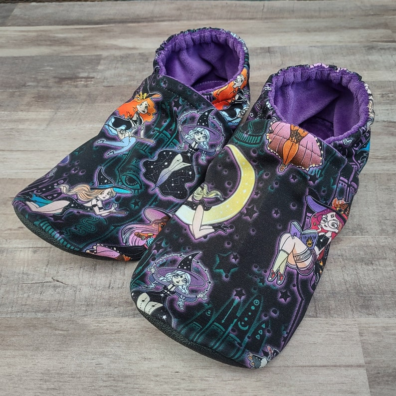 Pinup Witches : Handmade Soft Sole Shoes Cotton Knit Fabric image 0
