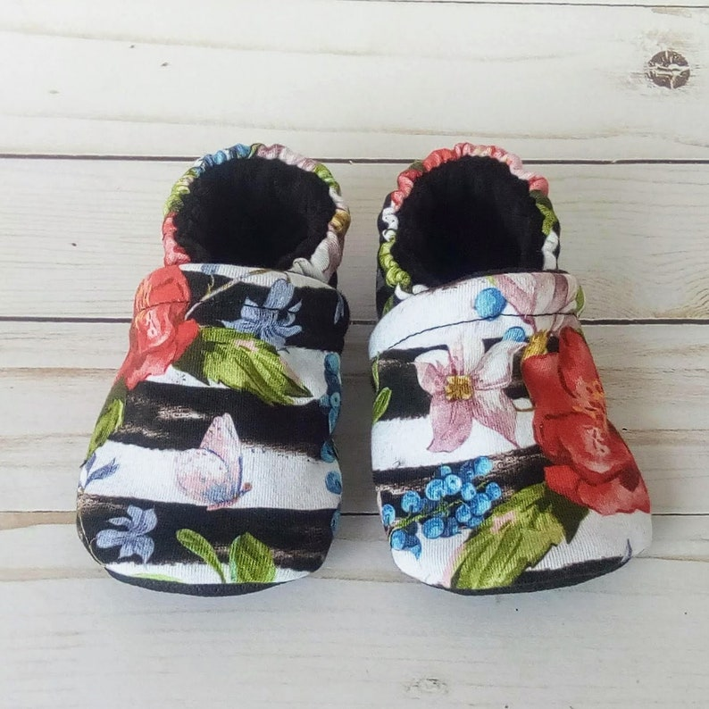Stripes and Floral: Handmade Baby Shoes Soft Sole Cotton Knit image 0