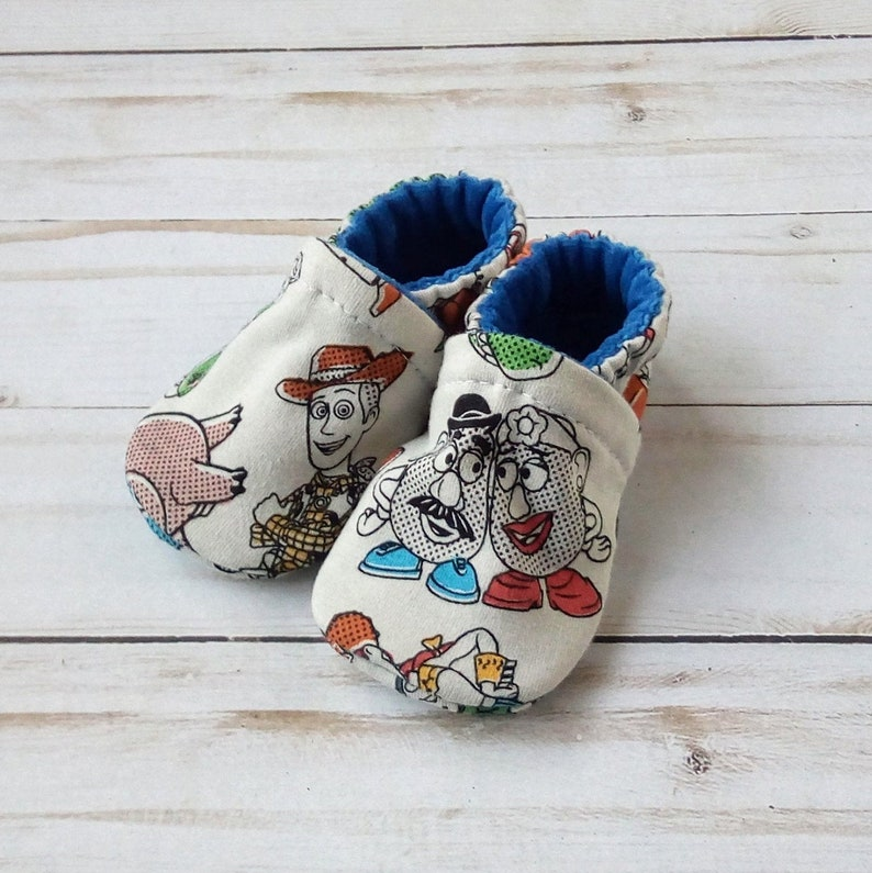 Toy Story: Handmade Soft Sole Shoes Cotton Knit Fabric image 0
